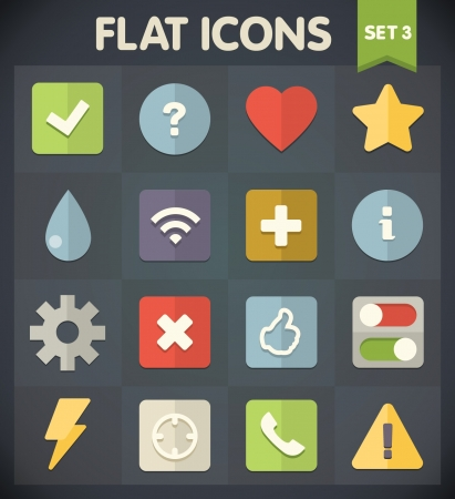 Universal Flat Icons for Web and Mobile Applications Set 3 Stock Vector - 19324062