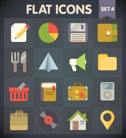 Universal Flat Pictogrammen voor web-en mobiele toepassingen instellen
