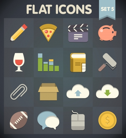 Universal Flat Icons for Web and Mobile Applications Set 5 Vector