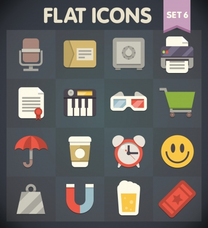 Universal Flat Icons for Web and Mobile Applications Set 6 Stock Vector - 19891810