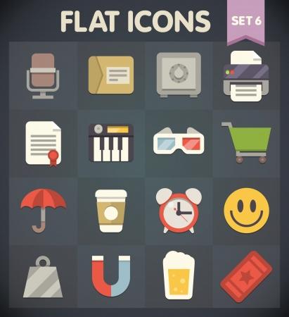 Universal Flat Pictogrammen voor web-en mobiele toepassingen Set 6 Stock Illustratie