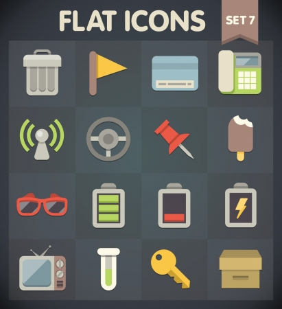 Universal Flat Icons for Web and Mobile Applications Set 7 Vector