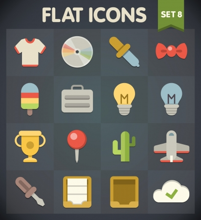 Universal Flat Icons for Web and Mobile Applications Set 8 Vector