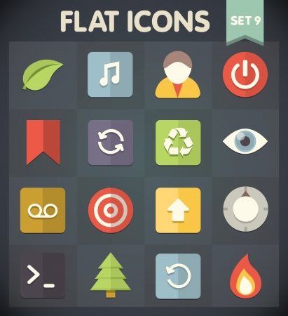 flat leaf: Universal Flat Icons for Web and Mobile Applications Set 9 Illustration