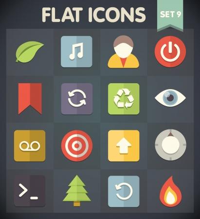 Universal Flat Pictogrammen voor web-en mobiele toepassingen Set 9