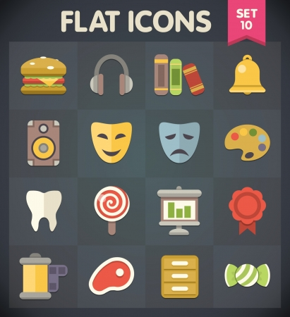 Universal Flat Icons for Web and Mobile Applications Set 10 Vector