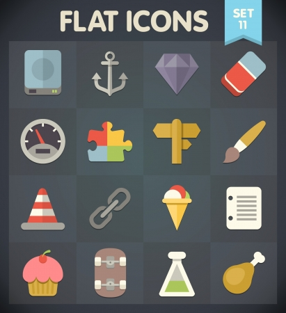 Universal Flat Icons for Web and Mobile Applications Set 11 Vector