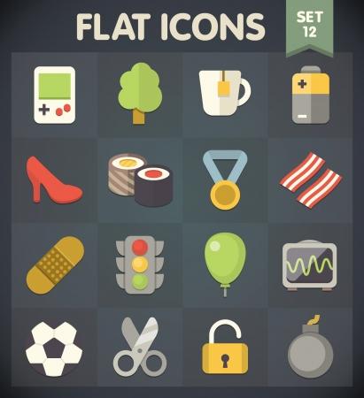 Universal Flat Pictogrammen voor web-en mobiele toepassingen Set 11 Stock Illustratie