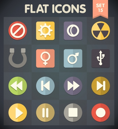 Universal Flat Icons for Web and Mobile Applications Set 15 Stock Vector - 20692446