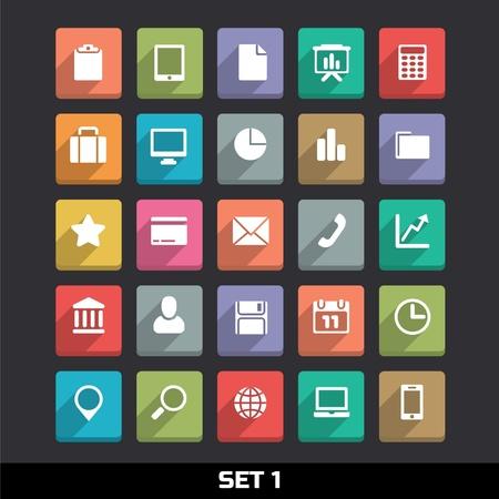 ic�ne logiciel: Trendy Vector Icons avec de longues ombres