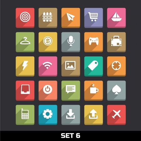 app: Trendy Vector Icons With Long Shadow