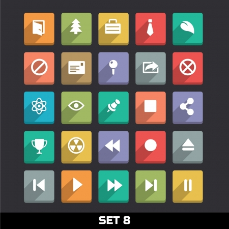 player controls: Trendy Vector Icons With Long Shadow