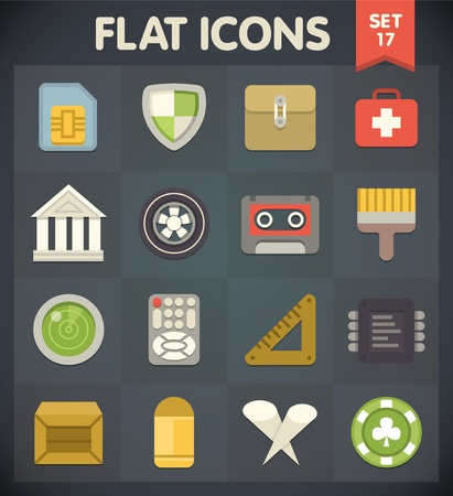 flat brushes: Universal Flat Icons for Web and Mobile Applications Set 17 Illustration