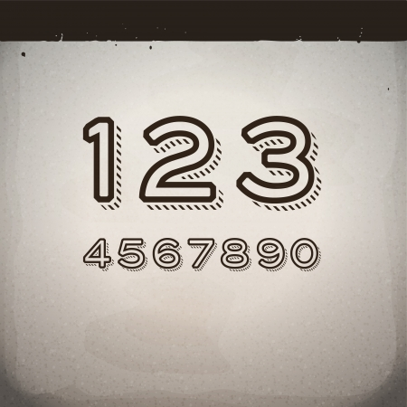 Vector Stylish Retro Numbers Stock Vector - 21974445