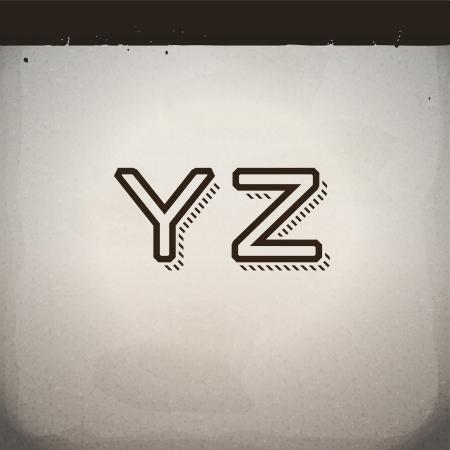 retro font: Vector Elegante Retro Font da Y a Z