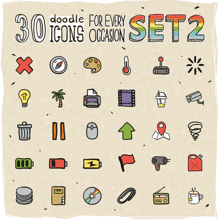 30 Colorful Doodle Icons Set 2