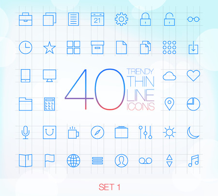 40 Trendy Thin Icons for web and mobile Set 1 Vector