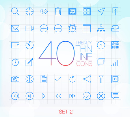 file sharing: 40 Trendy Thin Icons for web and mobile Set 1