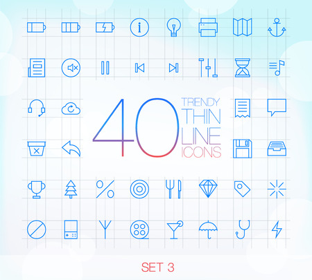 40 Trendy Thin Icons for web and mobile Set 3 Ilustração