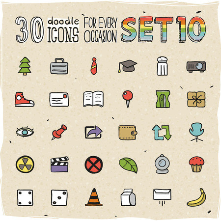 30 Colorful Doodle Icons Set 10 Vector