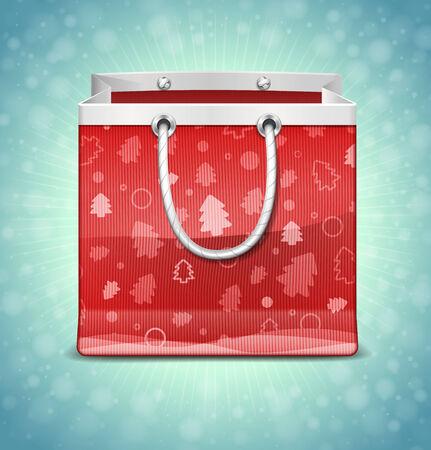 christmas gifts: Christmas Red Shopping Bag Illustration