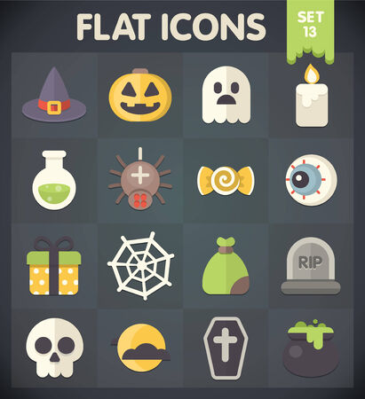 Halloween  Universal Flat Icons for Web and Mobile Applications Set 13 Vector