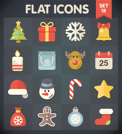 Christmas  Universal Flat Icons for Web and Mobile Applications Set 18 Vector