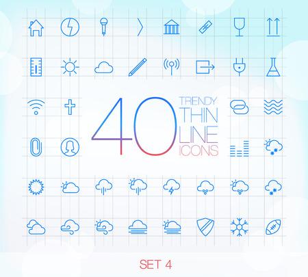 icone office: 40 ic�nes � la mode minces pour le web et Set mobile 4