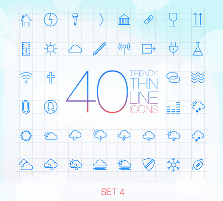 40 Trendy Thin Icons for web and mobile Set 4 Stock Vector - 23042100