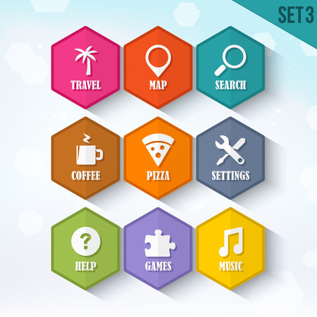 Trendy Vector Rounded Hexagon Icons Set 3 Vector