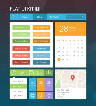 search button: Flat User Interface Kit for web and mobile 1 Illustration