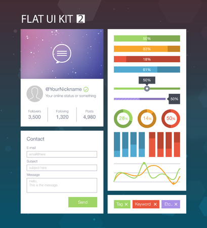bar chart: Flat User Interface Kit for web and mobile 2