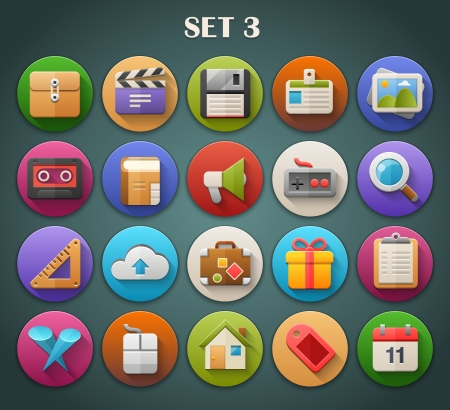 Round Bright Icons with Long Shadow Set 3