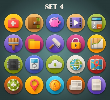 Round Bright Icons with Long Shadow Set 4