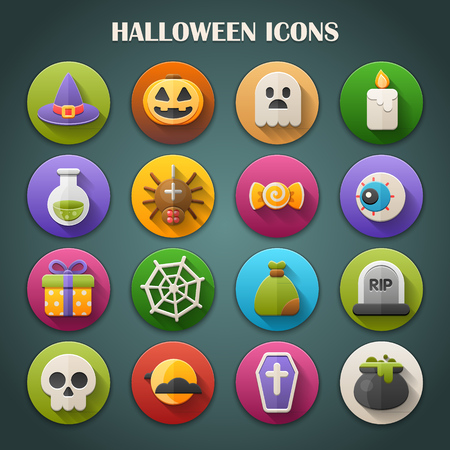 Round Bright Icons with Long Shadow  Halloween Vector