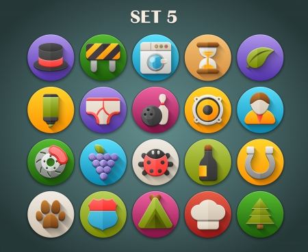 Round Bright Icons with Long Shadow Set 5