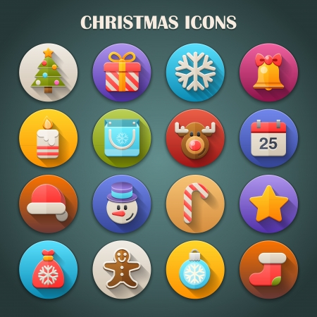 christmas shopping: Round Bright Icons with Long Shadow  Christmas