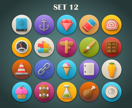 Round Bright Icons with Long Shadow Set 12