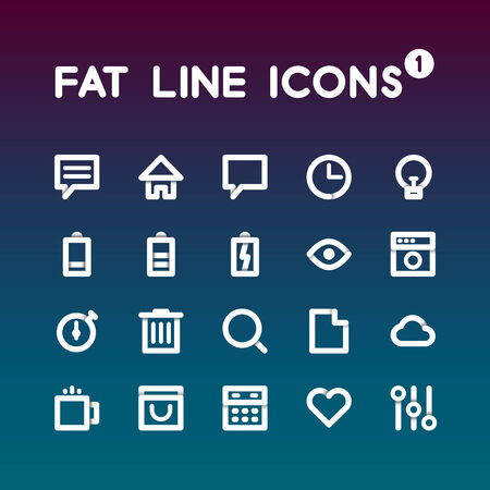 silhouette maison: Fat ligne Icons set 1