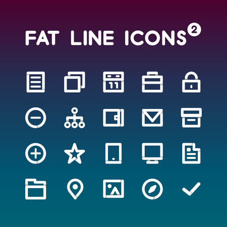 letter of application: Fat Line Icons set 2