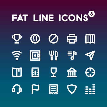 Fat Line Icons set 3 Vector