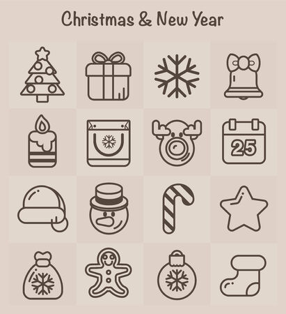Outline Icons  Christmas and New Year Vector