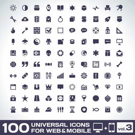 100 Universal Icons For Web and Mobile volume 3 Ilustracja