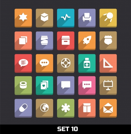 dialog: Trendy Vector Icons With Long Shadow Set 10 Illustration