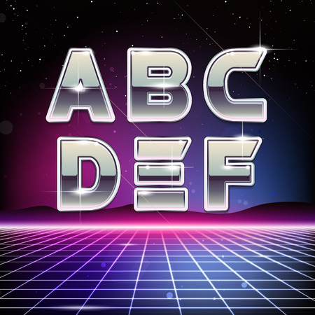scifi: 80s Retro Sci-Fi Font from A to F