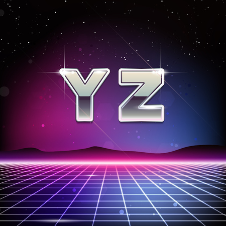 80s Retro Sci-Fi Font from Y to Z 向量圖像