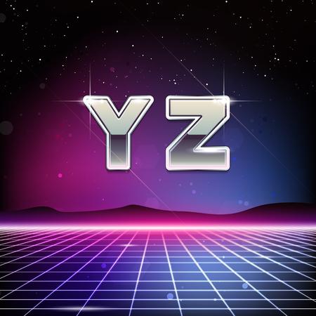 80s Retro Sci-Fi Font from Y to Z Çizim