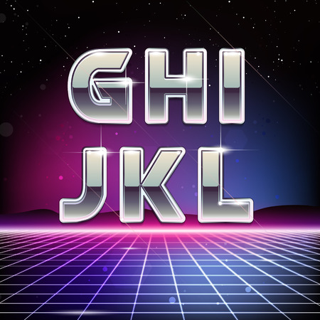 80s Retro Sci-Fi Font from G to L Illustration