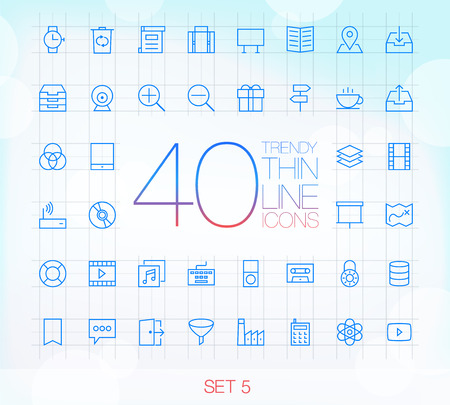 corner clock: 40 Trendy Thin Icons for web and mobile Set 5 Illustration