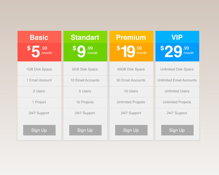 Four Pricing Plan Layouts Vector